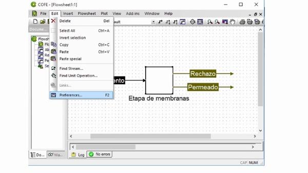 Simulación de un proceso de membranas con un simulador de procesos CAPE-OPEN (COCO simulator)