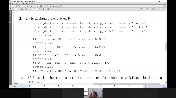 Selección de modelos de datos de panel (problema de examen resuelto)