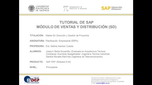 Tutorial de SAP: Ventas y Distribución (SD) (Caso de Estudio SAP UA)