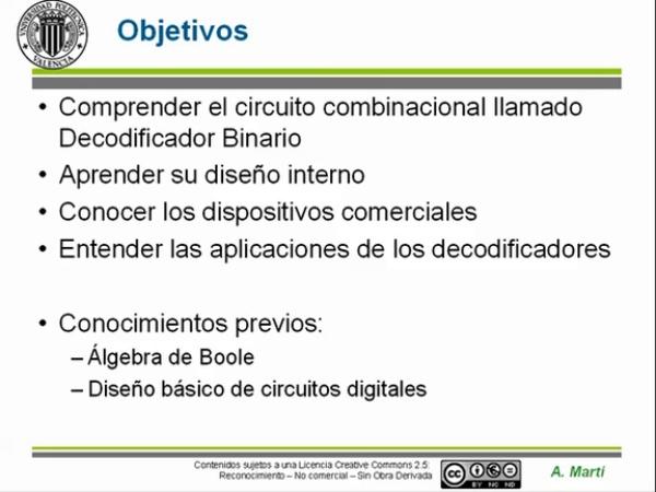 Circuitos combinacionales: decodificadores