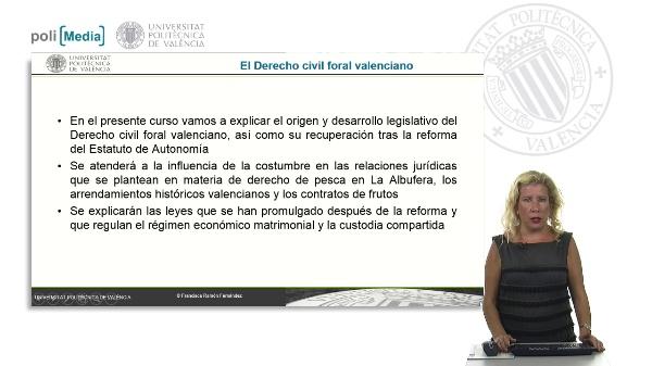 El Derecho civil foral valenciano