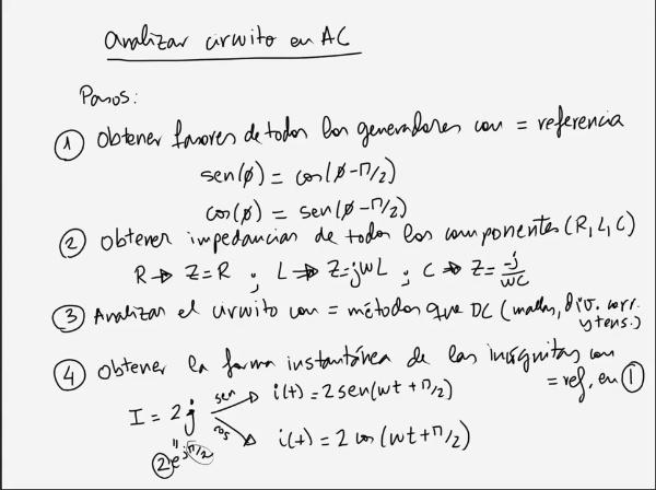 Teoría de Circuitos 1. Lección 6. 1-5 Ejemplo análisis circuito en alterna