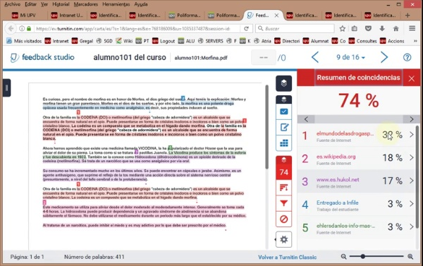 Visores de Turnitin