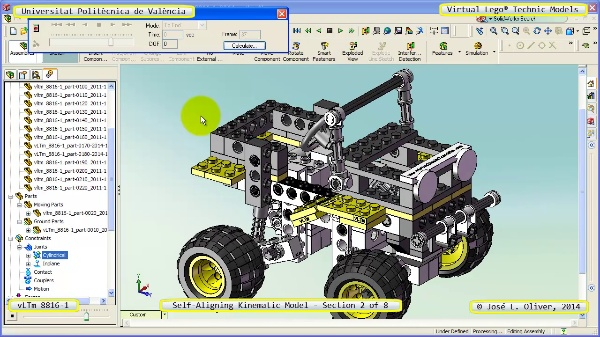 Simulación Cinemática Lego Technic 8816-1 con Cosmos Motion ¿ 2 de 8