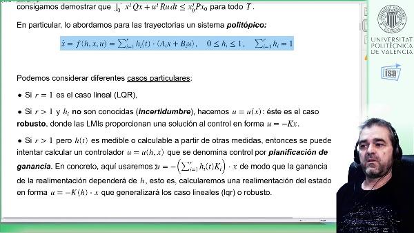 Control con planificación de ganancia para sistemas politópicos: condiciones LMI de síntesis