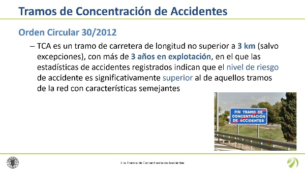 Los tramos de concentración de accidentes