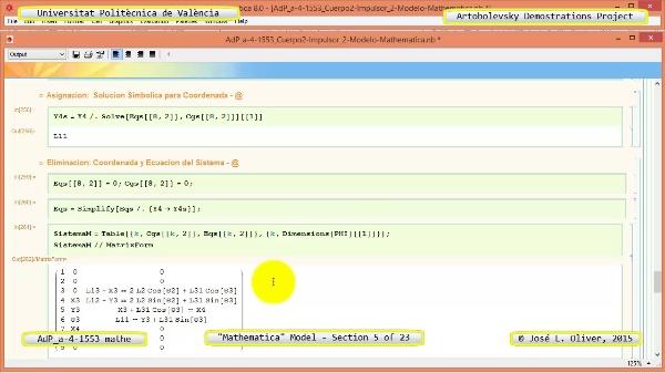 Solución Cinemática Simbólica a-4-1553 con Mathematica - 05 de 23 - Modelo Mathematica