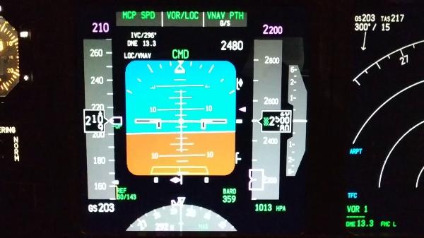 Aproximación inicial e intermedia en un 737-800