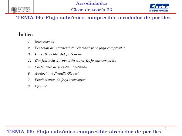 Aerodinámica I, Clase 23