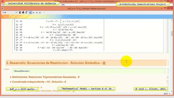 Solución Cinemática Simbólica a-z-1133 con Mathematica - 08 de 26