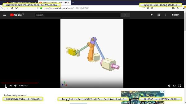 Simulación Cinemática Tang_InlineReciprSTEP-v8r5 con Recurdyn - Mov3d - 1 de 3