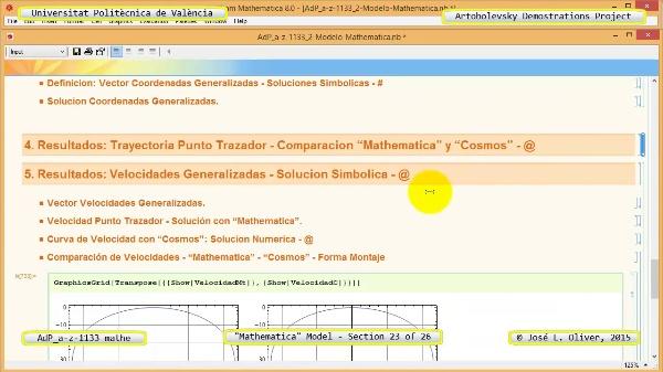 Solución Cinemática Simbólica a-z-1133 con Mathematica - 23 de 26