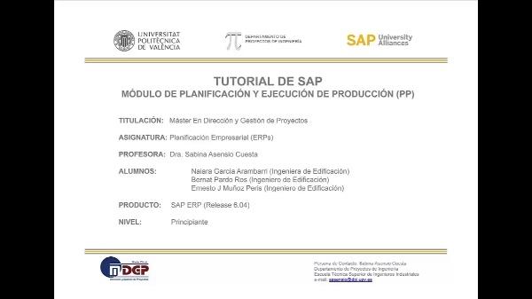 Tutorial de SAP: Planificación de la Producción (Caso de Estudio SAP UA)