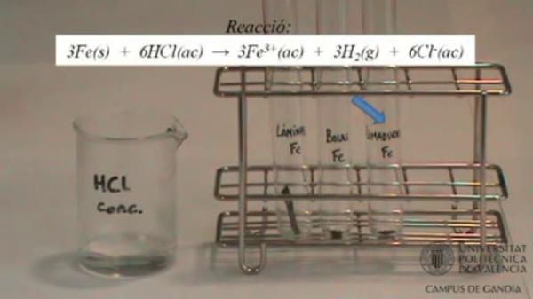 Velocitat d'una reacció química: Efecte de la superfície de contacte d'un reactiu