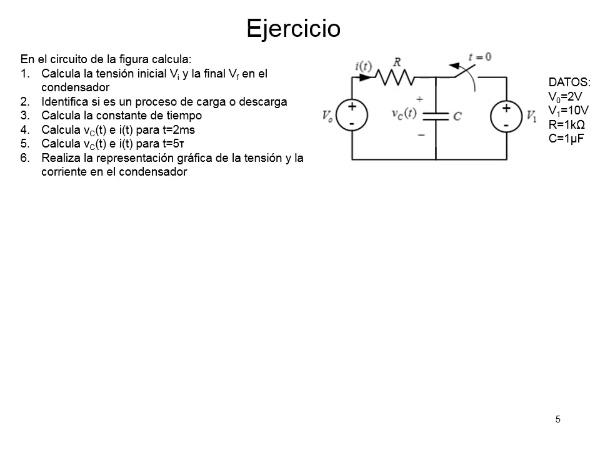 Resolución de circuitos RC y RL en régimen transitorio
