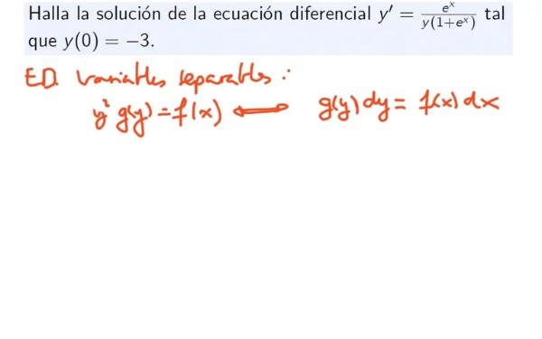 Ejercicio de ecuación diferencial de variables separables 1