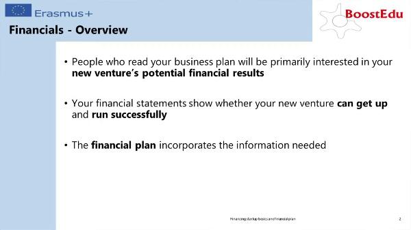 Financing start up basics & Financial Plan II