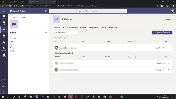 Teams - Añadir miembros a los equipos y canales