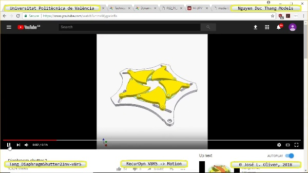 Simulación Cinemática Tang_DiaphragmShutter2Inv-v8r5 con Recurdyn - CompX
