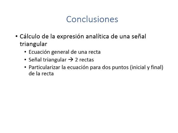 Ecuación analítica de una señal triangular
