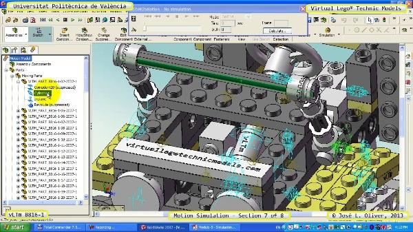 Simulación Cinemática Lego Technic 8816-1 con Cosmos Motion ¿ 7 de 8