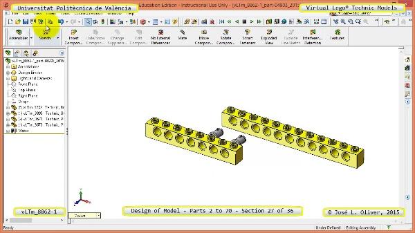 Creación Virtual Modelo Lego Technic 8862-1 ¿ Piezas 2 a 70 ¿ 27 de 36