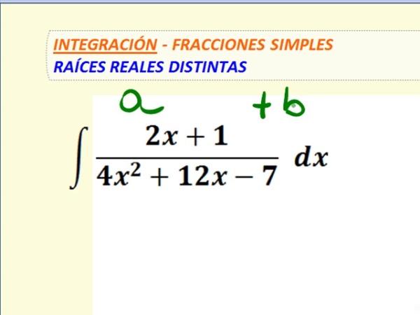 Integración por método de Fracciones Simples, raíces reales y distintas - 2