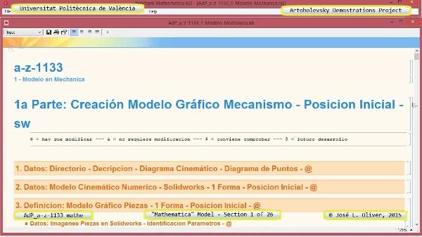 Solución Cinemática Simbólica a-z-1133 con Mathematica - 01 de 26