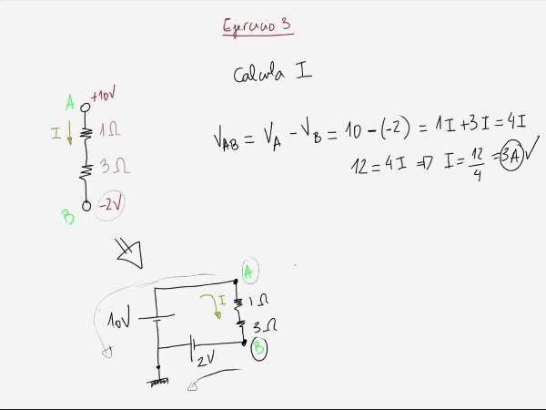 Teoría de Circuitos: 2.11.4.- Ejercicio 4 Masa/Tierra