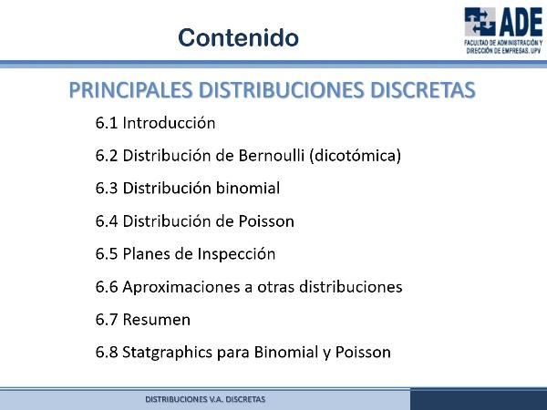 Tema 6. Variables Aleatorias Discretas (Introducción a la Estadística ADE-UPV)