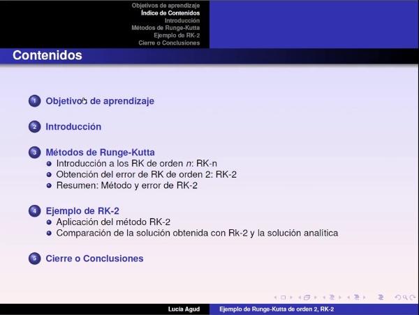 Métodos de Runge-Kutta. Desarrollo y aplicación del Runge-Kutta de orden 2