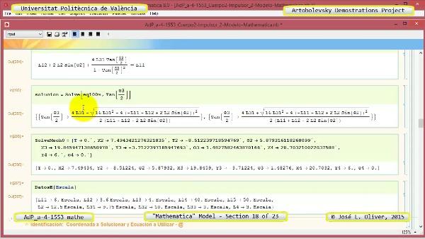 Solución Cinemática Simbólica a-4-1553 con Mathematica - 18 de 23 - Modelo Mathematica ¿ Ambas