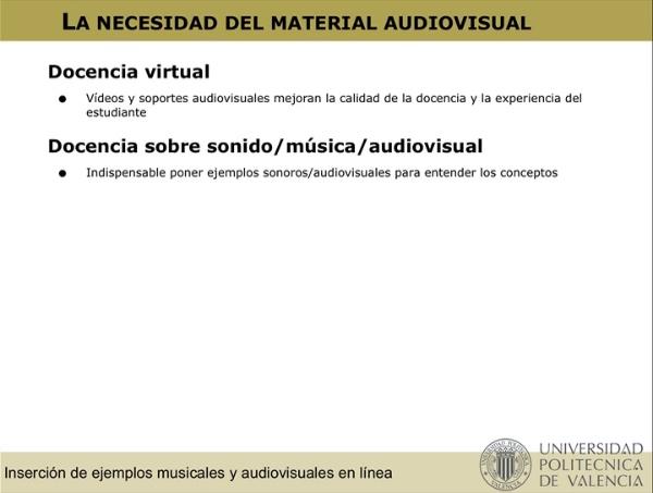 Inserción de material audiovisual/musical en línea