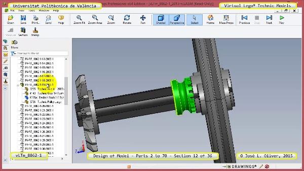 Creación Virtual Modelo Lego Technic 8862-1 ¿ Piezas 2 a 70 ¿ 12 de 36