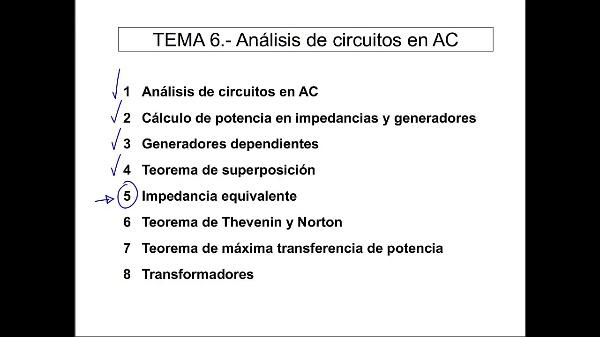 Teoría de Circuitos 1. Lección 6. 5-1 Utilidad de la impedancia equivalente