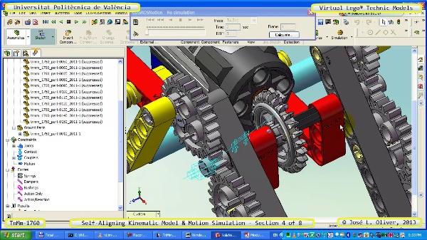 Simulación Dinámica Lego Technic T-1760 sobre Base ¿B- 4 de 8