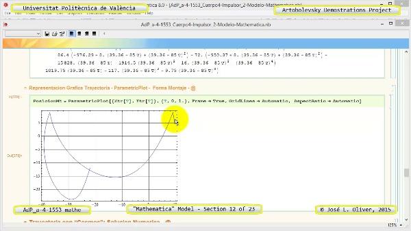 Solución Cinemática Simbólica a-4-1553 con Mathematica - 12 de 23 - Modelo Mathematica