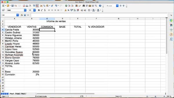 OpenOffice Calc: Referenicas absolutas y relativas