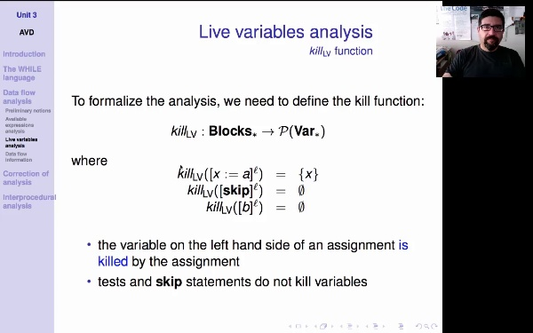 AVD. Unit 3. Live variables analysis (2)