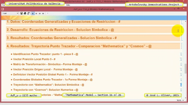 Solución Cinemática Simbólica a-z-1133 con Mathematica - 16 de 26