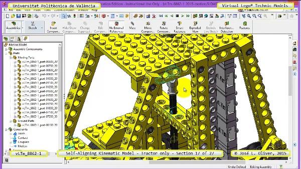 Simulación Dinámica Lego Technic 8862-1 - Tractor - sobre Base - 17 de 27