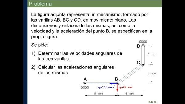 MECA. Ejercicio sobre determinación de velocidades y aceleraciones en sistemas de sólidos en movimiento plano