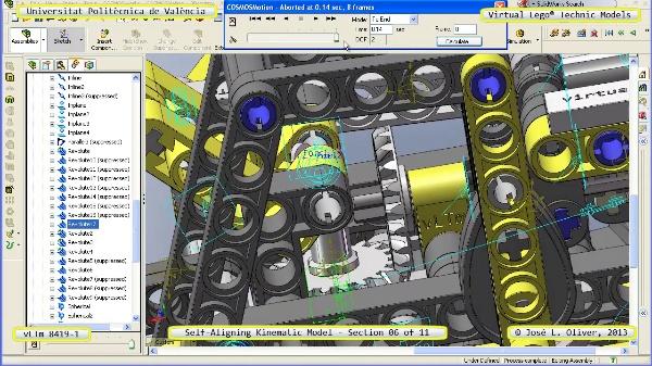 Simulación Cinemática Lego Technic 8419-1 con Cosmos Motion ¿ 06 de 11 - no audio