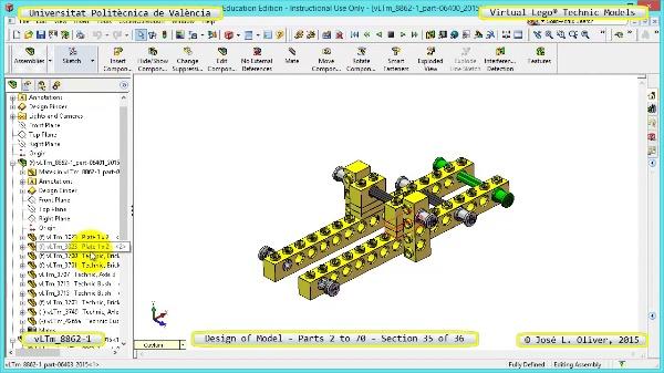 Creación Virtual Modelo Lego Technic 8862-1 ¿ Piezas 2 a 70 ¿ 35 de 36