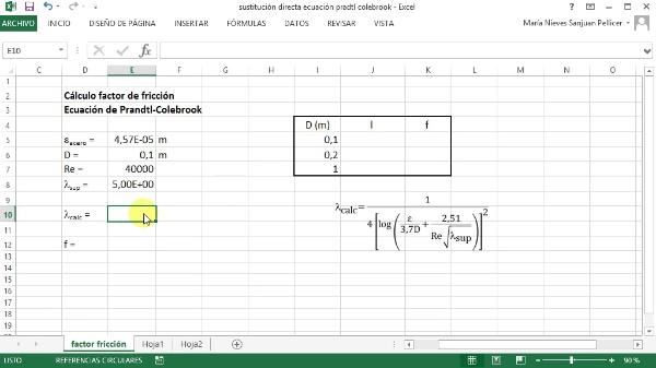 Cálculos iterativos con Excel. Sustitución directa