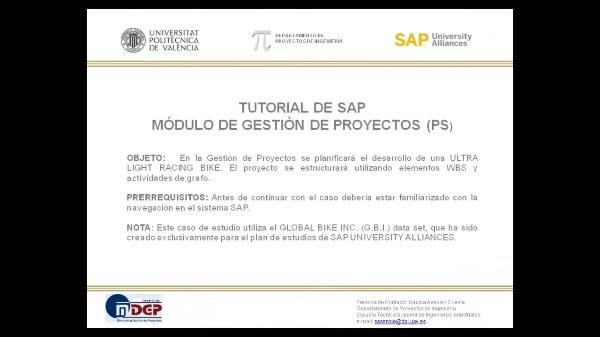 Tutorial de SAP: Gestión de Proyectos (PS). Planificación. (Caso de Estudio SAP UA)