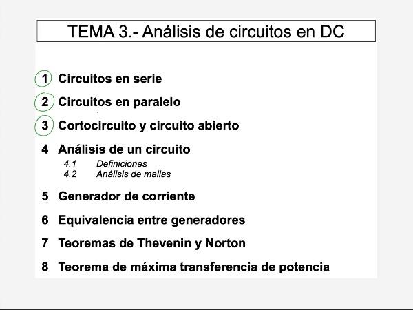 Teoría de Circuitos 1. Lección 3. 4.1.1 Análisis de un circuito, definiciones