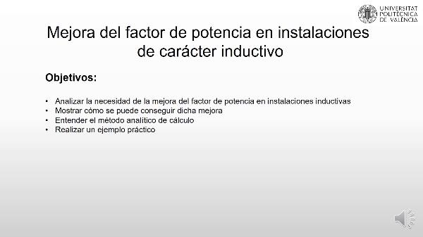 Mejora del factor de potencia en instalaciones de carácter inductivo