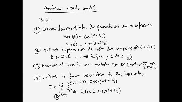 Teoría de Circuitos 1. Lección 6. 1-4 Repaso procedimiento análisis en AC