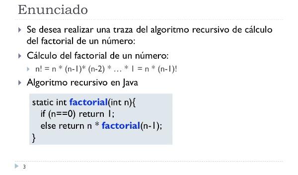 [PRG-OA] Traza del Algoritmo Recursivo de Cálculo del Factorial